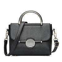Маленькая сумка через плечо из кожзама, сумочка с круглыми ручками черная классическая, CC-4553-10