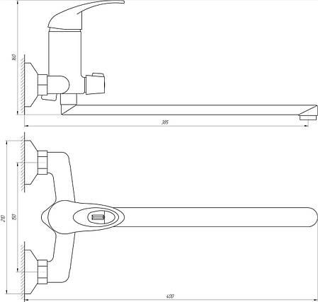 Змішувач для ванни Globus Lux Sena GLS-208, фото 2