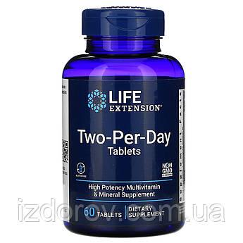 Life Extension, Two-per-Day, Двічі в день, мультивітамінний комплекс, 60 таблеток