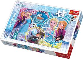 Игра головоломка пазл Холодное сердце страна дружбы100 элементов Trefl Disney Frozen, пазлы Ледяное сердце