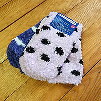Теплые детские носочки, набор из 2 шт, размер 31-34 (6-8 лет), цвет розовый и фиолетовый