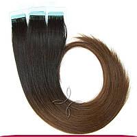 Натуральные славянские  волосы на лентах 45-50 см 100 грамм, Омбре №01С-04