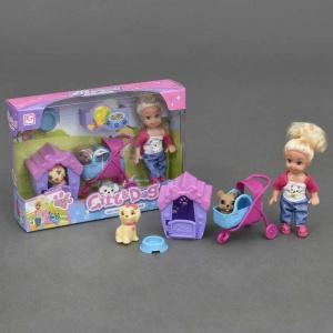 Лялька Girl & Dog з 2 вихованцями, будка коляска аксесуари К899-24, лялька з 2 собачками, для дівчаток від 3