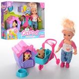 Лялька Girl & Dog з 2 вихованцями, будка коляска аксесуари К899-24, лялька з 2 собачками, для дівчаток від 3, фото 2