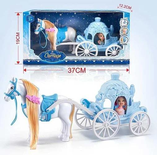 Дитячий ігровий набір Карета принцеси закрита з лялькою і конячкою