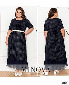 Элегантное и яркое платье батал с полукруглым вырезом горловины  большого размера 52, 54, 56, 58