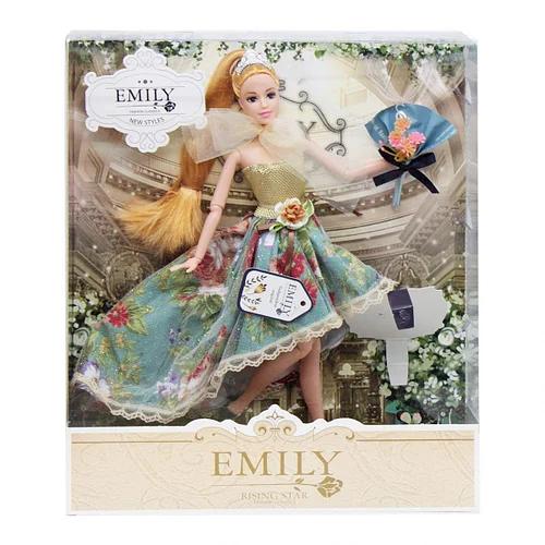 Шарнірна лялька Emily в пишній сукні з довгими світлими волоссям букетом і аксесуарами в коробці, Емілі
