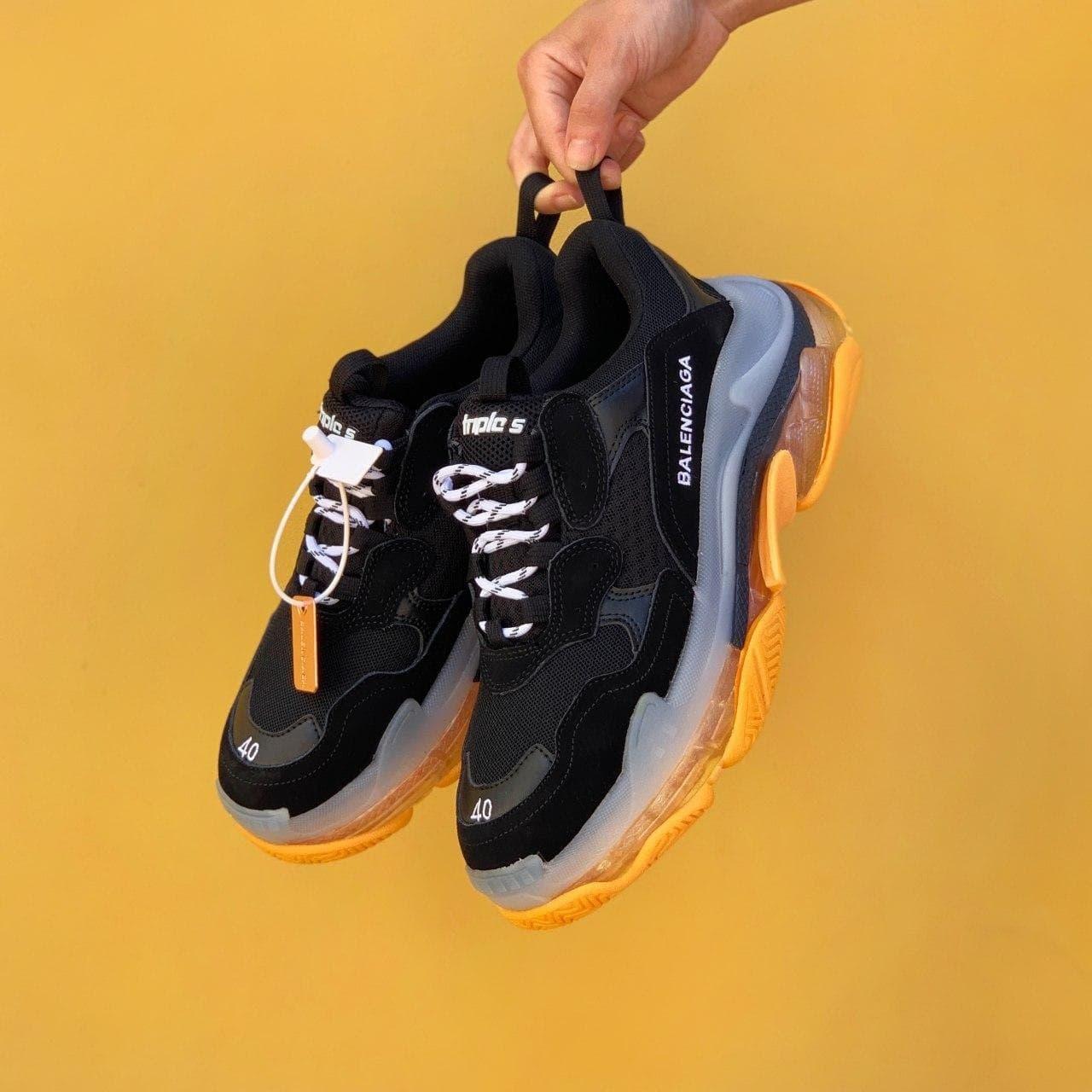 Женские кроссовки Balenciaga Triple S Clear sole yellow/black