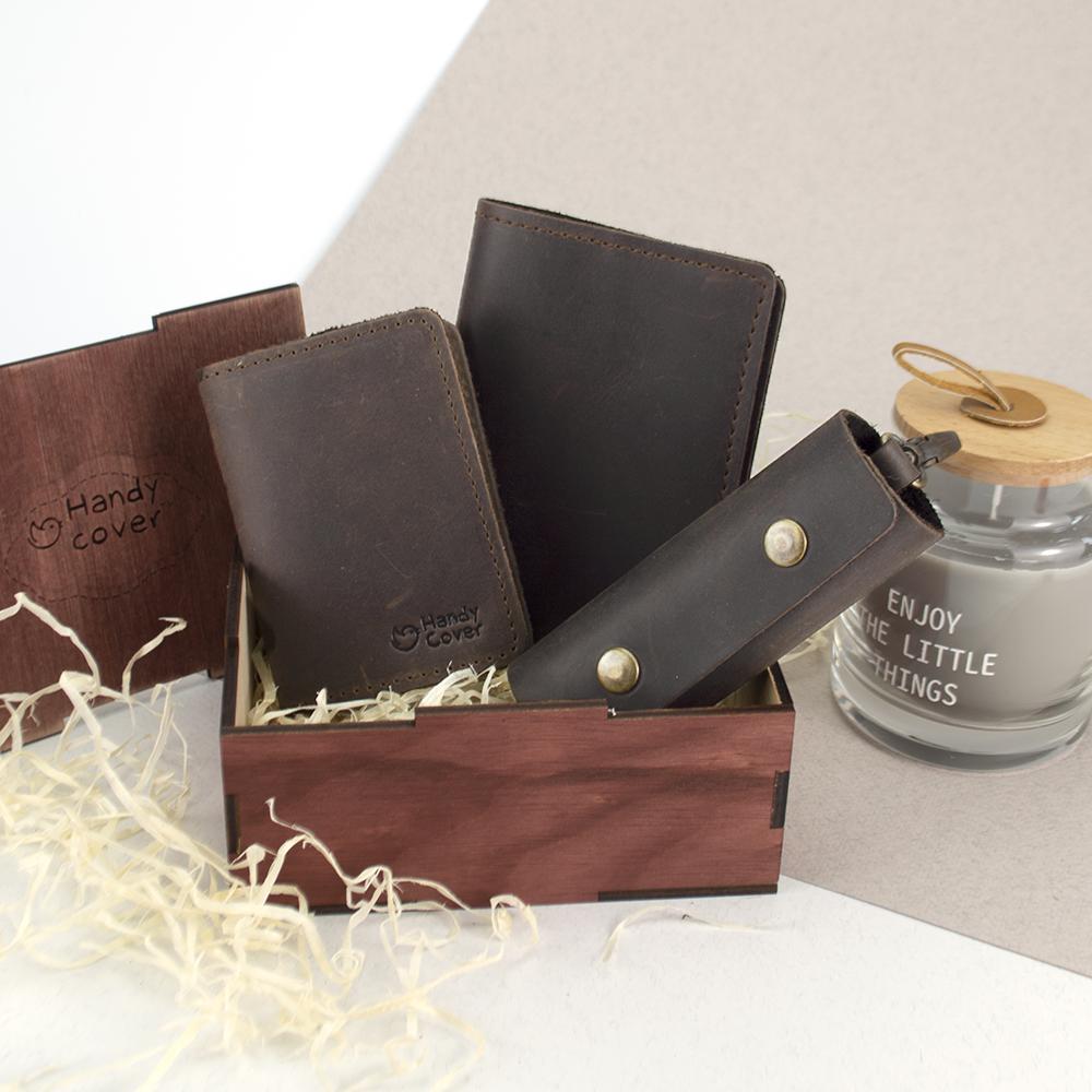 Подарочный набор мужской в коробке Handycover №46 (коричневый) ключница, обложка на документы и паспорт