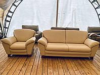 Кожаный бежевый диван и кресло б у из Германии