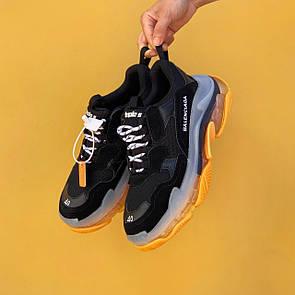 Мужские кроссовки Balenciaga Triple S Clear sole yellow/black 44