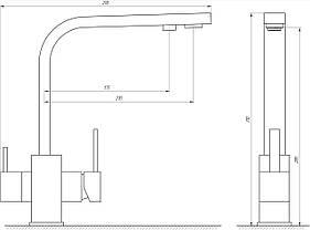 Змішувач для кухні під осмос Globus Lux GLLR-0111-4-COLORADO, фото 3