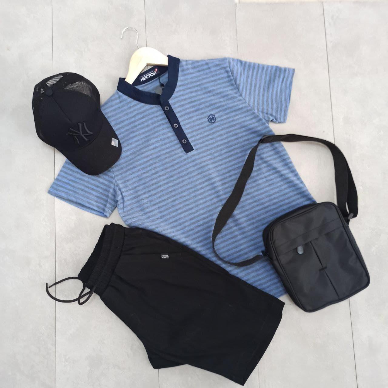 Літній чоловічий спортивний костюм прогулянковий поло чорний шорти з кепкою - барсетка в подарунок