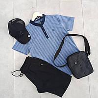 Летний мужской спортивный костюм прогулочный поло черный шорты с кепкой - барсетка в подарок