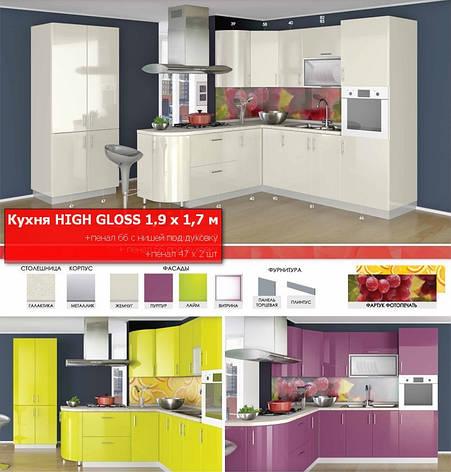 Кухня угловая HIGH GLOSS 1,9 х 1,7 м, фото 2