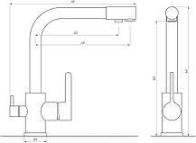 Змішувач для кухні під осмос Globus Lux GLLR-0444-9-BRONZE, фото 3