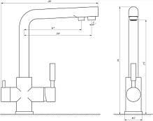 Змішувач для кухні під осмос Globus Lux GLLR-0888-8-STSTEEL, фото 3