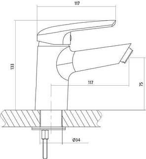 Смеситель для умывальника Cersanit AVEDO с металлическим донным клапаном S951-143, фото 2