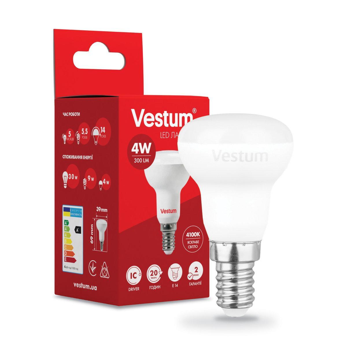 Світлодіодна лампа Vestum R39 4W 4100K 220V E14 1-VS-1401