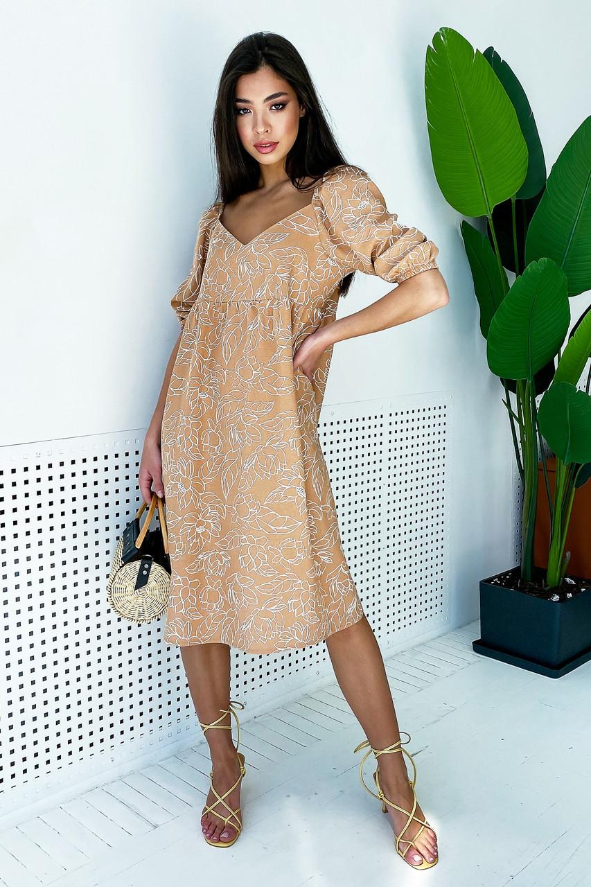 Бежевое летнее платье из льна с цветами свободного кроя