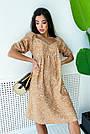 Бежевое летнее платье из льна с цветами свободного кроя, фото 2