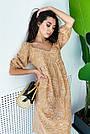 Бежевое летнее платье из льна с цветами свободного кроя, фото 4