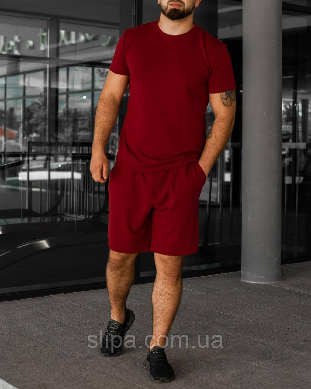 Червоний літній чоловічий комплект Basic | футболка + шорти