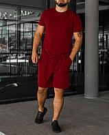Червоний літній чоловічий комплект Basic | футболка + шорти, фото 1