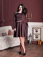 Модное платье в шоколадном цвете юбка расклешенная с пояском