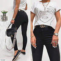 Стрейчевые женские летние джинсы облегающие по фигуре с завышенной талией арт 379