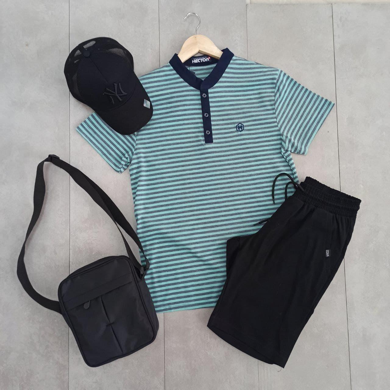 Мужской комплект для лета спортивный черные шорты с футболкой поло ,кепкой и сумкой