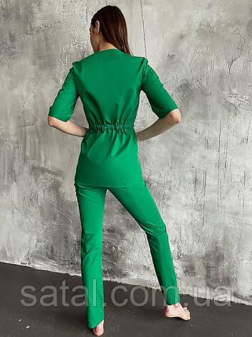 Медицинская куртка ЛУна. Трава (зеленый). Рукав по локоть. Satal, фото 2