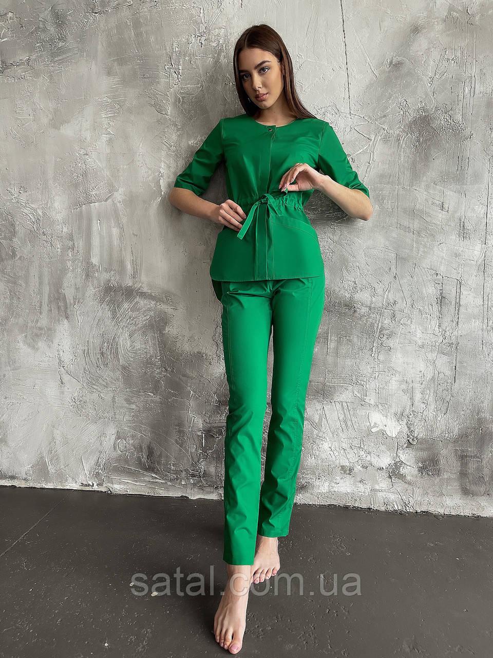 """Медицинский костюм """"ЛУна"""". Трава (зеленый). Легкая ткань. Рукав по локоть. Satal"""