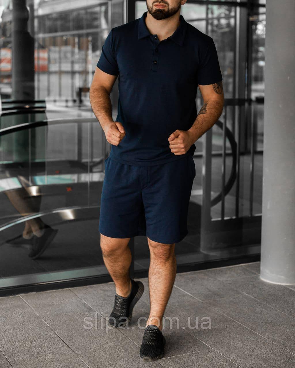 Тёмно-синий летний мужской комплект Polo | поло + шорты