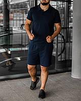 Тёмно-синий летний мужской комплект Polo | поло + шорты, фото 1