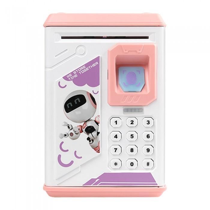 Детская копилка - сейф с кодовым замком и отпечатком пальца РОЗОВАЯ арт. 4626