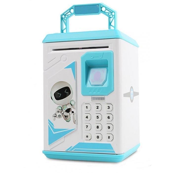 Детская копилка - сейф с кодовым замком и отпечатком пальца ГОЛУБАЯ арт. 4626