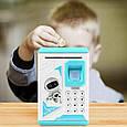 Детская копилка - сейф с кодовым замком и отпечатком пальца ГОЛУБАЯ арт. 4626, фото 6