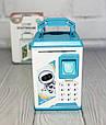 Детская копилка - сейф с кодовым замком и отпечатком пальца ГОЛУБАЯ арт. 4626, фото 2