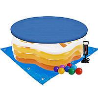 Детский надувной бассейн Intex 56495-3 «Морская звезда», 183 х 180 х 53 см, желтый, с шариками 10 шт, тентом,