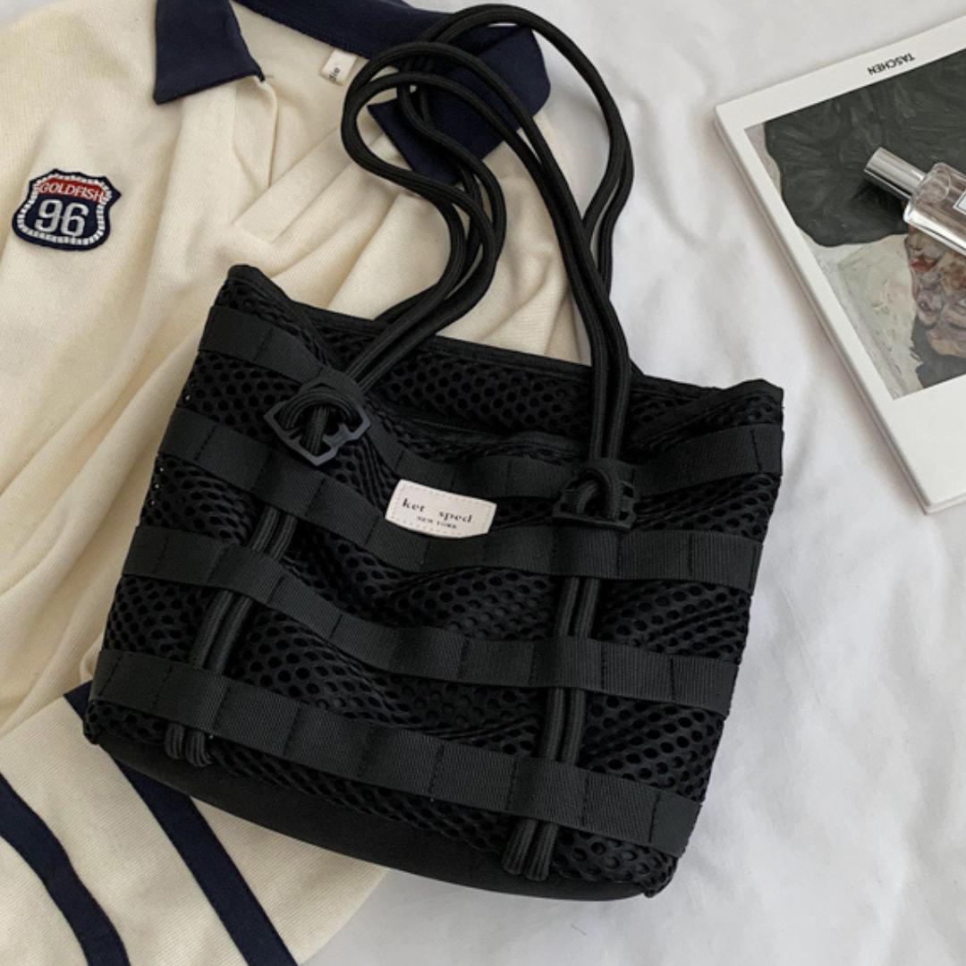 Женская сумка сетка, черная летняя сумка, сумка тренд 2021 CC-3725-10