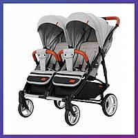 Детская прогулочная коляска для двойни CARRELLO Connect CRL-5502 серая + дождевик Коляска для двоих детей