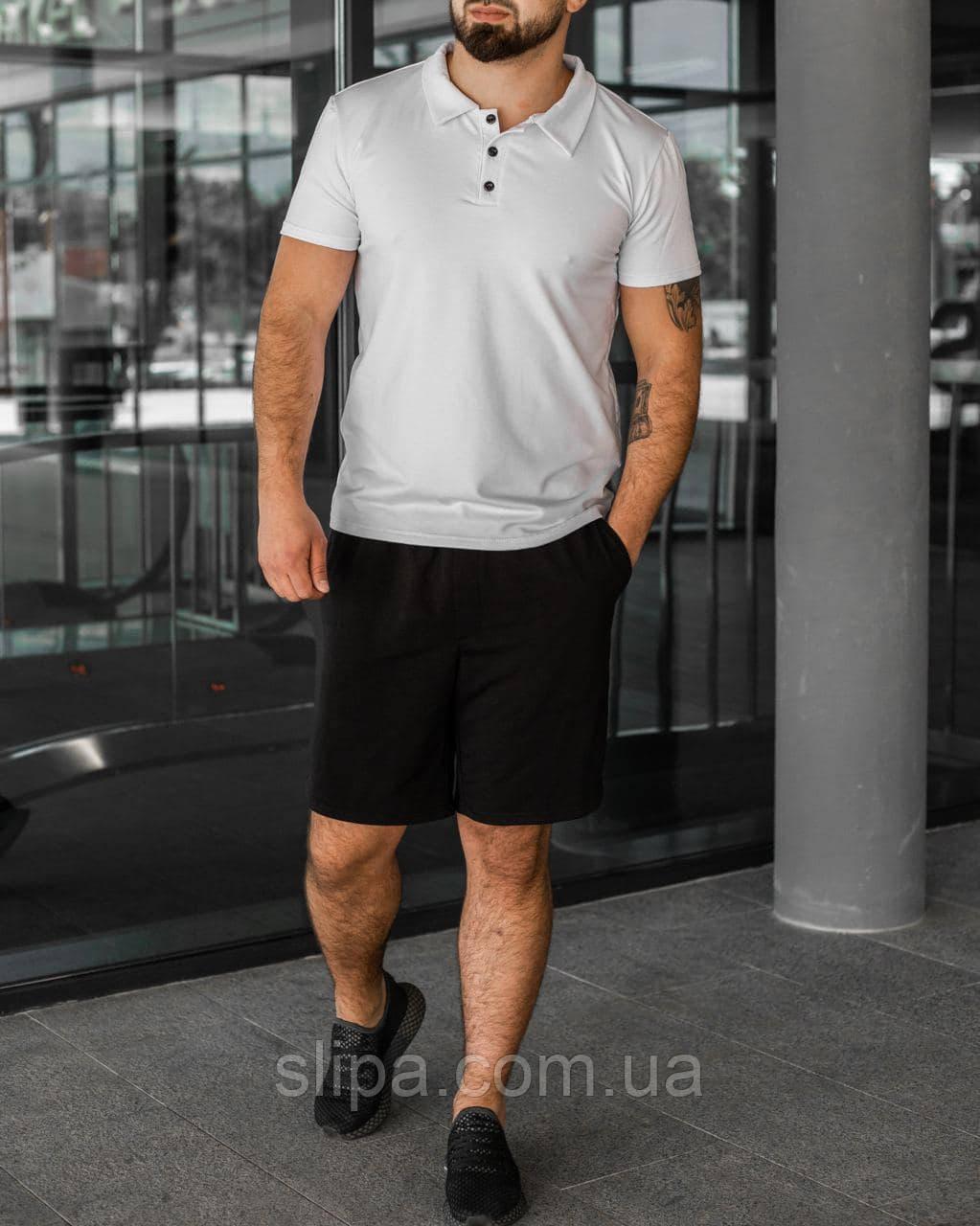Чорно-білий літній чоловічий комплект Polo   поло + шорти