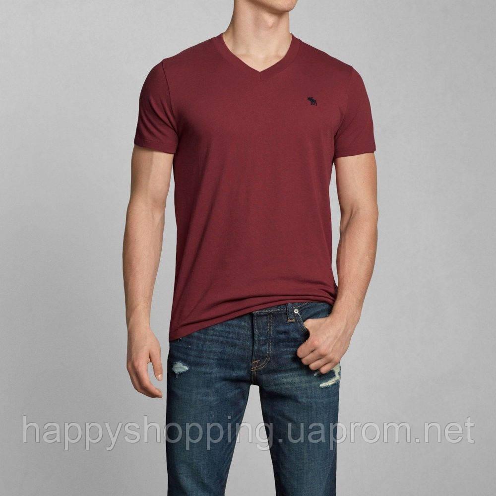 Бордовая футболка Abercrombie&Fitch