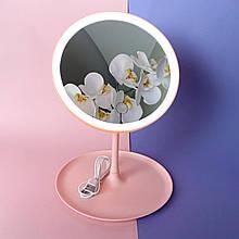 Кругле косметичне дзеркало з підсвічуванням Рожевий