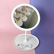 Кругле косметичне дзеркало з підсвіткою Білий