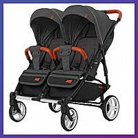 Детская прогулочная коляска для двойни CARRELLO Connect CRL-5502 черная + дождевик Коляска для двоих детей