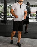 Чорно-білий літній чоловічий комплект Polo2   поло + шорти, фото 1