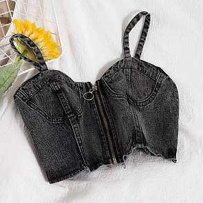 Женский джинсовый топ-бюстье Серый