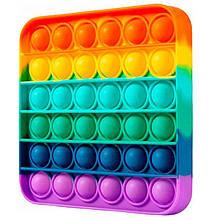 Мягкая игрушка разноцветная Поп ит Бесконечная пупырка антистресс Pop It Квадрат, антистресс квадрат радуга